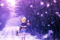 Картинка зима, дорога, лес, девушка, снег, деревья, шапка