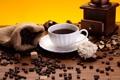 Картинка цветок, кофе, зерна, чашка, сахар, белая, мешочек