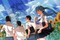 Картинка небо, девушка, облака, подсолнухи, провода, аниме, наушники