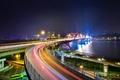 Картинка город, река, мост, ночь, огни