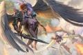 Картинка девушки, дракон, крылья, арт, парень, в небе