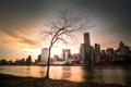 Картинка закат, город, небоскребы, USA, америка, сша, New York City