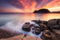 Картинка океан, рассвет, побережье, залив
