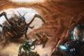 Картинка жук, скафандр, солдаты, ружья, пехотинец, пещера. яйца, перепуганный