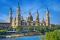 Картинка река, набережная, Сарагоса, Zaragoza, River Ebro, Basilica of Our Lady of the Pillar, храм