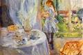 Картинка Berthe Morisot, Interior of Cottage, The Child with the Headstock, ребенок, окно, стол, интерьер