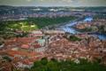 Картинка река, здания, крыши, Прага, Чехия, панорама, мосты