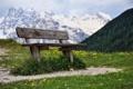 Картинка горы, природа, скамья