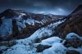 Картинка зима, лес, снег, горы, природа