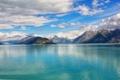 Картинка небо, облака, горы, озеро