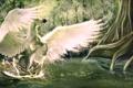 Картинка лес, вода, деревья, брызги, фантастика, крылья, арт