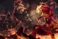 Картинка магия, медведь, арт, девочка, уши, League of Legends, Michal Ivan
