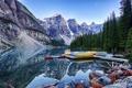 Картинка деревья, горы, лодка, причал, Канада, Альберта, каноэ