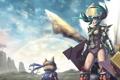 Картинка небо, кот, девушка, оружие, радуга, доспех, Monster hunter