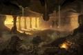 Картинка обломки, огонь, колонны, руины, дворец, зала
