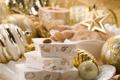 Картинка зима, игрушки, Новый Год, тарелка, Рождество, сладости, орехи