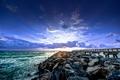 Картинка море, камни, рассвет, пирс