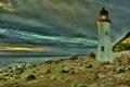 Картинка море, небо, облака, берег, маяк, вечер