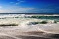 Картинка синее, волны, небо, берег, море