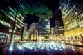 Картинка город, фонтан, Chicago, ночь, подсветка, Daley Plaza