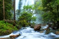 Картинка лес, деревья, река, камни, водопад, поток, Таиланд