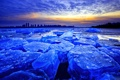 Картинка лед, зима, небо, облака, закат, город, озеро