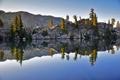 Картинка небо, облака, деревья, горы, озеро, отражение, река