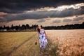 Картинка закат, поле, девушка