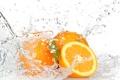 Картинка апельсины, капли, вода, брызги