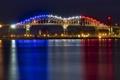 Картинка ночь, огни, Мичиган, панорама, Marie International Bridge