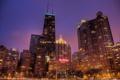 Картинка город, огни, небоскребы, вечер, Чикаго, Chicago, Canal Trustees