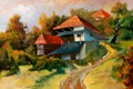 Картинка дорога, осень, деревья, дом, пристройка