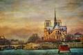 Картинка река, Франция, Париж, корабль, Сена, холст, Собор Парижской Богоматери