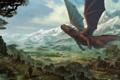 Картинка горы, люди, дракон, арт, руины, гигантский