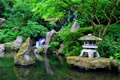 Картинка сад, Япония, зелень, вода, камни