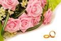 Картинка цветы, капельки, розы, букет, flowers, обручальные кольца, droplets