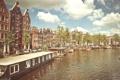 Картинка солнце, лодки, Амстердам, канал, Amsterdam