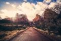Картинка облака, горы, дорога