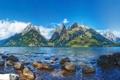 Картинка США, лес, берег, горы, озеро, камни