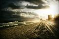 Картинка море, волны, пляж, небо, лучи, свет, следы
