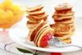 Картинка тарелка, вилка, десерт, Мини блинчики, Mini Pancakes