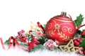 Картинка листья, снег, ягоды, игрушки, новый год, шар, рождество