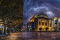 Картинка ночь, огни, улица, дома, Италия, мостовая, дворец