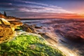 Картинка закат, камни, берег, водоросли, море