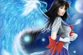 Картинка девушка, крылья, перья, арт, перчатки, банты, bishoujo senshi sailor moon