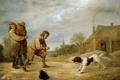 Картинка люди, картина, жанровая, David Teniers II, собвка, Farmboy with a Dog