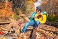 Картинка железная дорога, малчик, гитара, собака