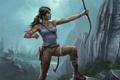 Картинка девушка, горы, лук, Tomb Raider, лара крофт