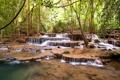 Картинка лес, камни, водопад, forest, river, landscape, waterfall
