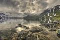 Картинка пейзаж, природа, озеро, камни, HDR, Норвегия